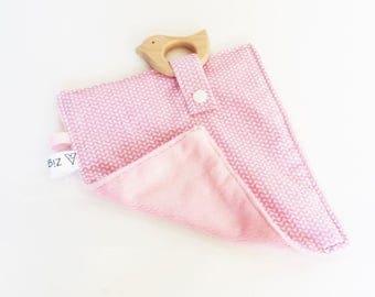 Pink plush fabric ZIG ZAG and wood bird teether