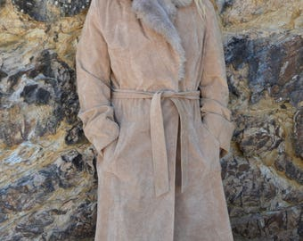 Vintage coat long brown penny lane vegan faux fur collar winter 70's hippie boho princess maxi jacket tie waist maxi acket
