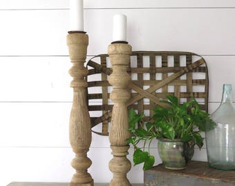 Reclaimed Pair Wood Baluster Candle Holders, Vintage Candleholders, Farmhouse Decor