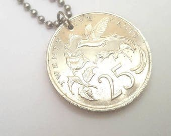 1986 Jamaican Coin Necklace with Hummingbird - Stainless Steel Ball Chain or Key-chain