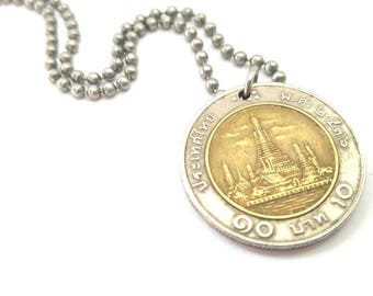 Multitone Foreign Coin Necklace  - Stainless Steel Ball Chain or Key-chain