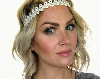 Ivory Floral Lace Boho Headband