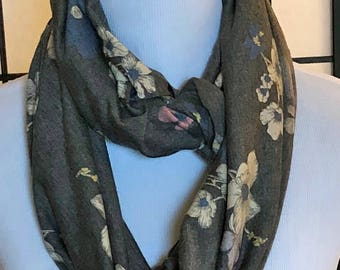 Gray Floral Jersey Infinity Scarf