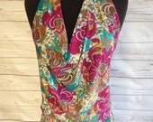 Retro Bright Floral and Geometric Print Draped Halter Top ***CLEARANCE!**
