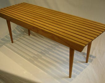 Solid Oak Slat Coffee Table, 17 x 46