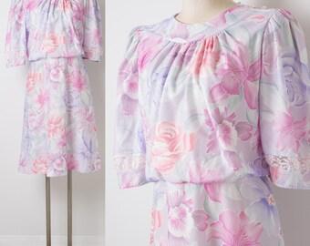 80s Dress, Vintage Pink Dress, Vintage Floral Dress, Vintage Blouson dress, 80s Secretary Dress, Pink Floral Dress, Summer Dress - M/L