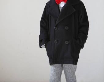 Boys coat Toddler boys linen coat Toddle boy Double breasted coat Raglan sleeve coat Boys autumn coat Boys clothes Vintage look coat