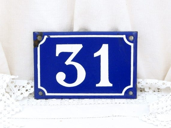 Vintage Traditional French Porcelain House Number Plate Number 31 in Dark Blue with White Colored Numbers / Enamel House Sign, Address Signs