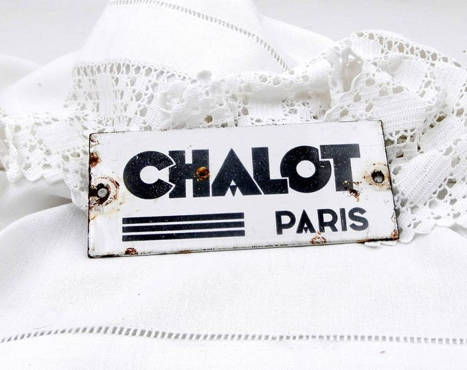 Art Deco Black and White Enameled Metal Plaque for the French Heating Company Chalot from Paris, 1930s Parisian Advertising Porcelain Plate
