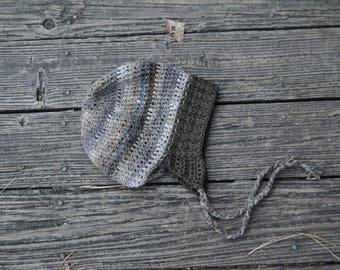 Organic Earthy Stripe Crochet Winter Hat // Handmade Organic Wool Cap