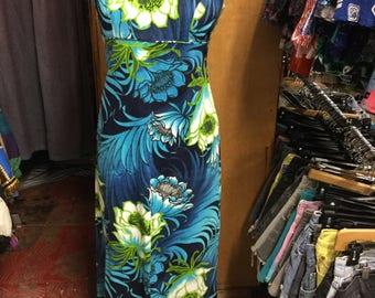 Bark cloth Hawaian tiki maxi dress