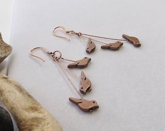 Copper Bird Earrings, Beaded Bird Earrings, Cascade Earrings, Dangle Earrings, Handmade Rustic Earrings, Southwest Jewelry, Boho Jewelry