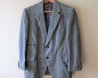 80s Pauls Tweed Blazer Grey Wool Herringbone Casual Slim Fit Blazer Jacket Men's Small 34