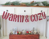 Warm and Cozy, Banner, Sign, Buffalo Check, Red, Black, Plaid, Buffalo Print, Fabric, Christmas, Decoration, Tree, Mantle Decoration