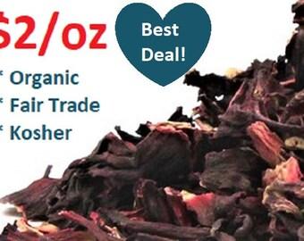 Organic HIBISCUS FLOWERS- 1 oz - (Hibiscus sabdariffa) 1 ounce non-GMO, fair trade, kosher, certified