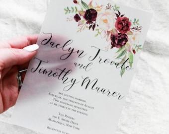 Burgundy Wedding Invitations, Vellum Invitation, marsala wedding, watercolor stationary, unique invitation, floral wedding invites with rsvp