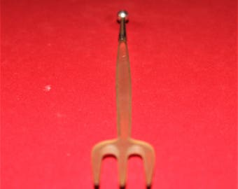 Vintage Rare Celluloid Pickle/Relish Fork with silver handle