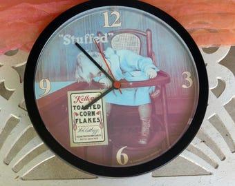 Child Asleep Clock - Kellog's Corn Flakes, Stuffed Toddler, Battery -Vintage - Fabulous!