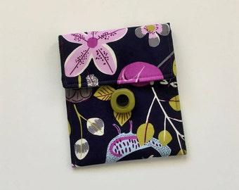 Purple Button Pouch, Floral Pouch, Navy Blue Accessory Bag, Button Pouch, Bag Organizer, Cell Phone Case, Camera Case