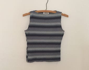 Blue Striped Knit Shell Top - Early 90s