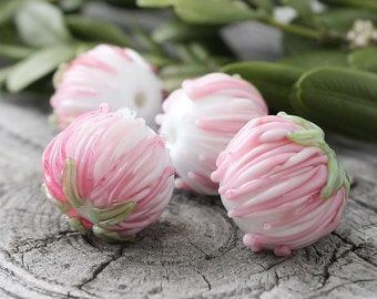 Lampwork Beads, Lampwork Flower, 1 pc  Pink Flower, Lampwork Glass, Handmade Glass Beads, Flower Beads, Lampwork Glass Beads