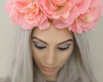 Elegant Pink Floral Crown, Flower Crown, Pink Flower Headband, Floral Crown, Floral Headband, Pink Flower Crowns