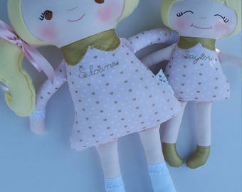 Big Sister Little Sister Dolls Set of 2, Made to Order, Includes Personalization, Custom Dolls