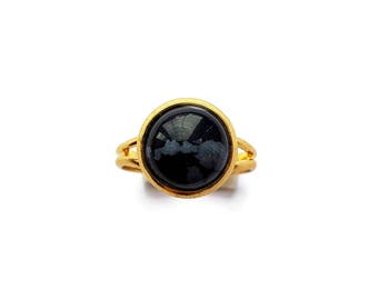 Round Snowflake Obsidian Cameo Ring Gold