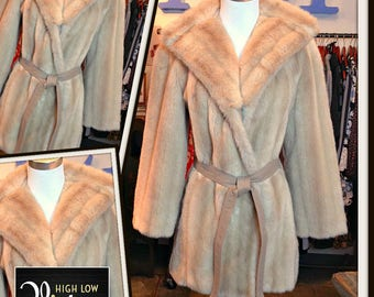 Vintage Lilli Ann Faux Fur Champagne Jacket Coat with Pockets 1970s