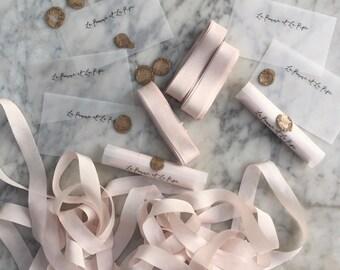 Blush hand dyed Silk Ribbon, Hand dyed Silk Ribbon, Light Blush Silk Ribbon, Invitation Silk Ribbon, Wedding Invitation Ribbon, Silk Ribbon