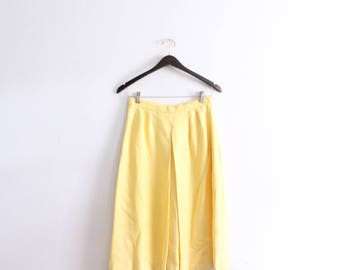 Sunny Yellow Pleated Midi Skirt