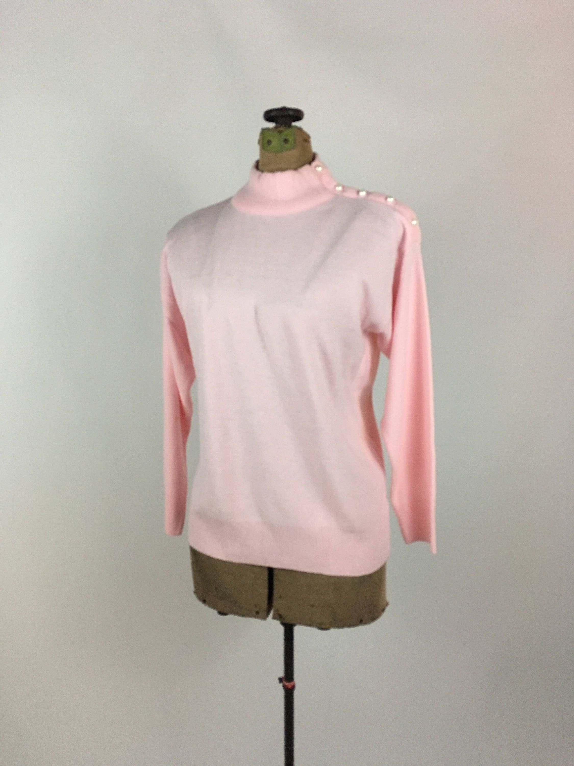 Soft Pink Turtleneck Pullover Sweater Vintage 1970s Pale Pink