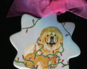 Hand painted Chow Ornament