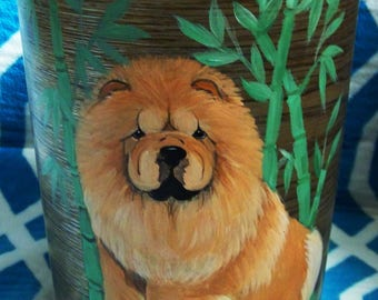 Hand painted Chow small waste basket