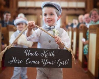 Uncle Here Comes Your Girl Ring Bearer Sign - WS-159