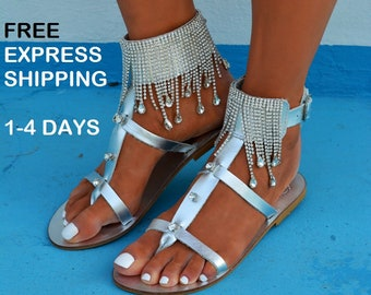 Luxury sandals, Silver sandals, Bridal sandals, Wedding shoes, Silver Leather sandals, Glamorous sandals, Summer sandals ''Semele''