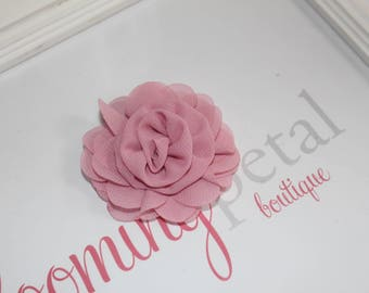 Dusty Pink Chiffon Rose Flower Clip