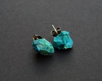 Raw Chrysocolla Chunk Earrings,  Rock Stud Earrings, Crystal Earrings