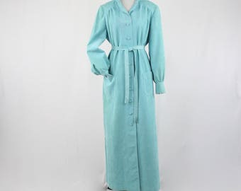 1970s Turquoise Ultra Suede Long Shirt Coat Dress Vera Maxwell Original
