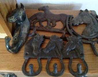 Rustic Metal Horse Themed Coat Hooks