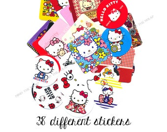 Hello Kitty Stickers - 38 Pieces - All Different - Cute Kitty for Every Season and Occasion - Planners Decoration Paper Craft Supply
