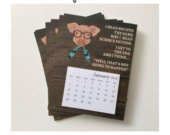 2018 Calendar Magnets | Refrigerator Calendar Magnet | 4.25x5.5 Calendar | 2018 Calendar with Magnet | Fridge Calendar | Lil Kitchen Piggie