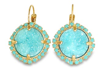 Turquoise Statement Earrings,Statement, Lever Back Dangle Earrings, Turquoise, Turquoise Druzy Earrings, Druzy Drop Earrings, Pave Earrings.