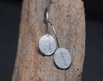 Leaf earrings, silver leaf drop earrings, dangle drop earrings with embossed leaf pattern, Argentium Silver, handmade by ARC Jewellery UK