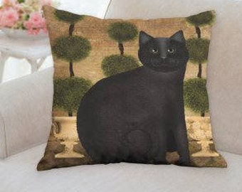 """SALE...Save 5.00 dollars on the Black Cat Pillow 18""""x18"""""""