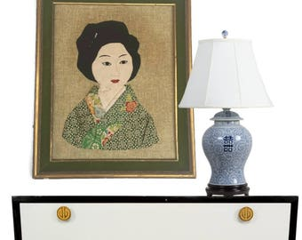 Mid Century Modern Textile Portrait Chinoiserie Wall Art Shadowbox Style Asian Portrait Hanging Quilted Hand Made Japanese Kimono Fabric Art