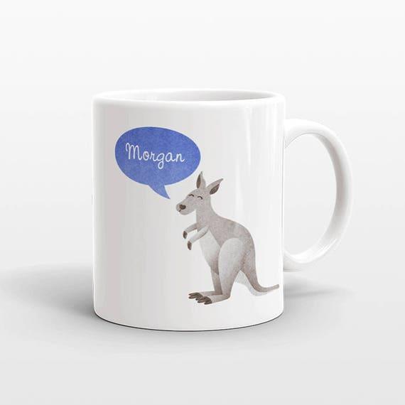 Custom Name Mug, Kangaroo Mug, Personalized Mug, Unique Coffee Mug, Office Mug, Best Friend Gift, Birthday Gift, Cute Animal Lover Gift
