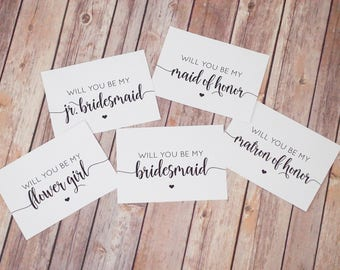 Bridesmaid Proposal Cards Set INSTANT DOWNLOAD Printable - DIY, Will You Be My Bridesmaid, Maid of Honor, Matron, Flower Girl, Jr. Print Out