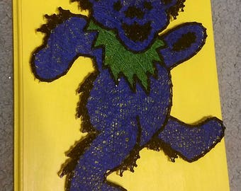 Blue Cartoon Sticker Bear String Art
