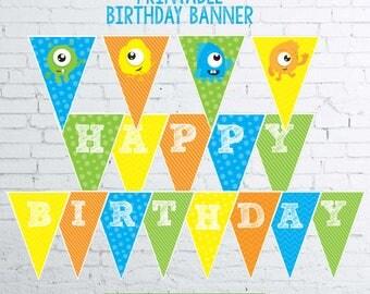 Monster Birthday Decorations, Little Monster 1st Birthday Decorations, Little Monster Banner, Printable Banner, Instant download